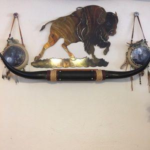 Mounted steer horns rustic western decor